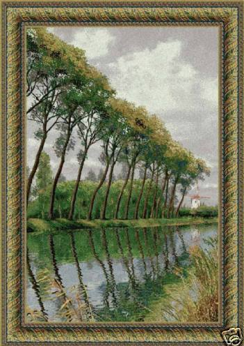66x46 Claude Monet CANAL In FLANDERS MILL Row of Trees Tapestry Wall Hanging