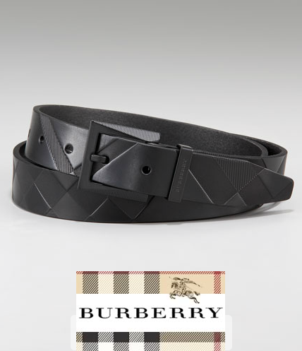 BURBERRY AUTHENTIC EMBOSSED CHECK BLACK LEATHER MEN BELT MADE IN ITALY BRAND NEW