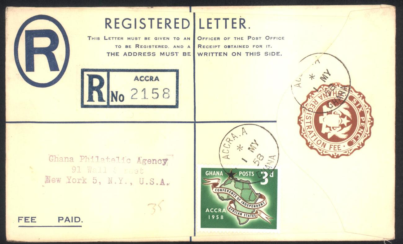 registered letter registered letter may 1 1958 gold coast until 1957 24259 | Ghana Registered Letter