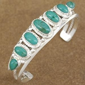 Genuine Turquoise Sterling Silver Traditional Southwest Cuff Bracelet