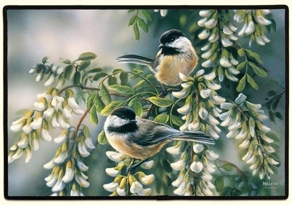 27x18 Chickadee Bird Flower Floral Doormat Floormat Home