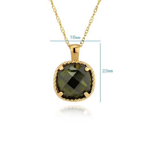 Golden Olive Green Princess Cut CZ 18K Yellow Gold Plated Pendant Necklace