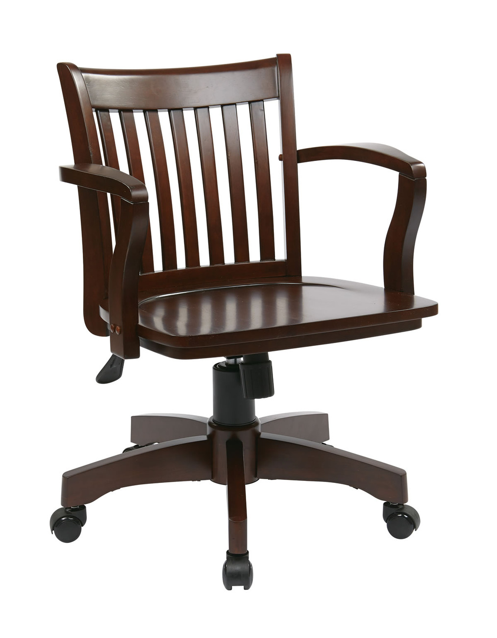 style swivel bankers office wood chair w arms slat back chairs