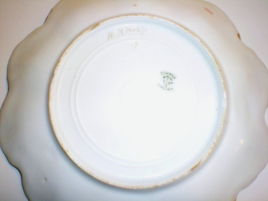 Image 5 of Limoges artist painted signed scallop plate gold trim 1907