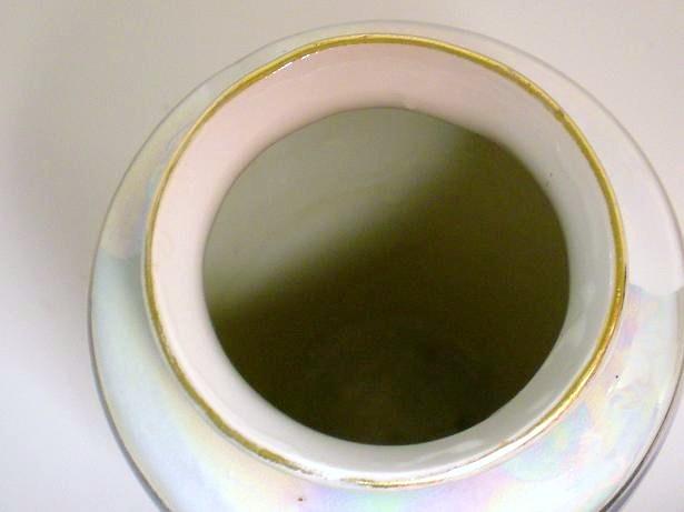 Image 3 of Porcelain ceramic vase Germany blue pink gold trim high glaze