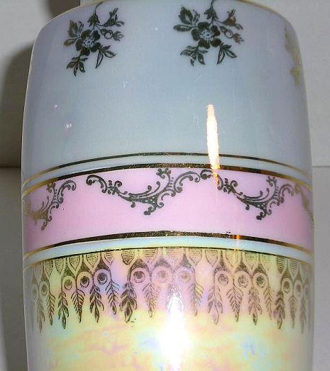 Image 5 of Porcelain ceramic vase Germany blue pink gold trim high glaze