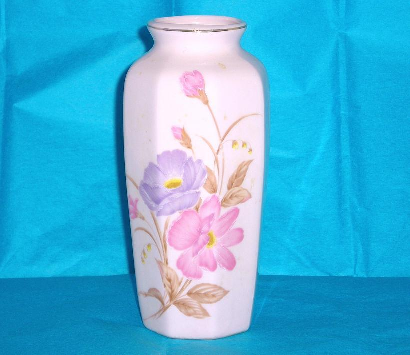 Image 1 of Pink floral ceramic vase Japan purple pink peonies 6 inches