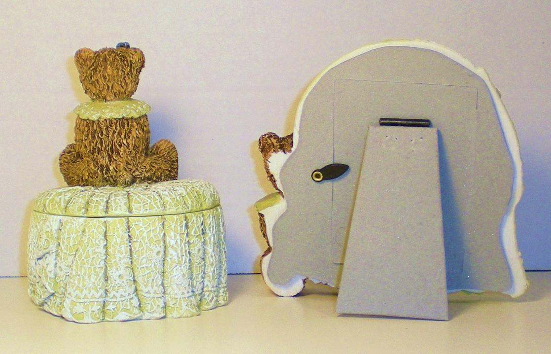Image 1 of Ivory Resin Picture Frame and Trinket Box teddy bear figurines 2000