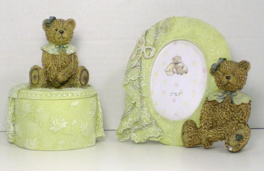 Ivory Resin Picture Frame and Trinket Box teddy bear figurines 2000