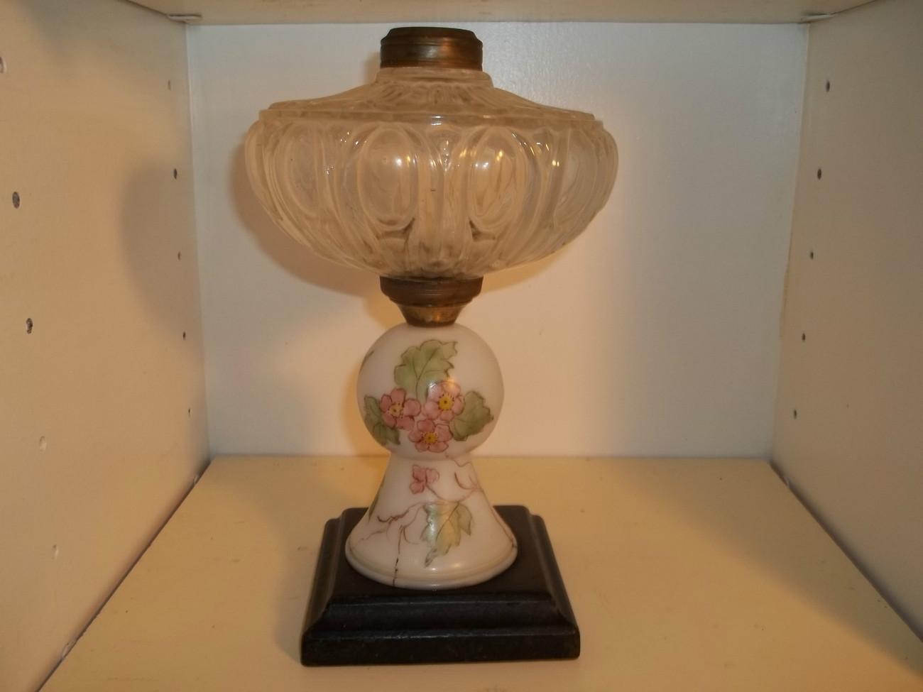 vintage pressed glass kerosene lamp