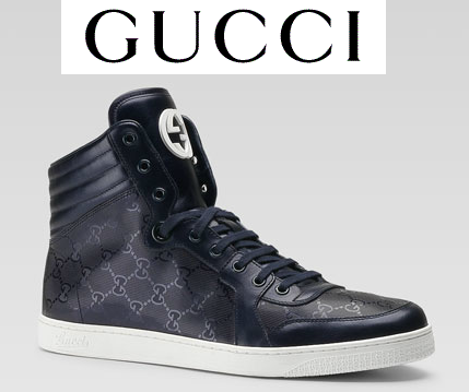 GUCCI INTERLOCK GG LOGO IMPRIME BLUE LEATHER SNEAKERS SHOES $695 BRAND NEW ITALY