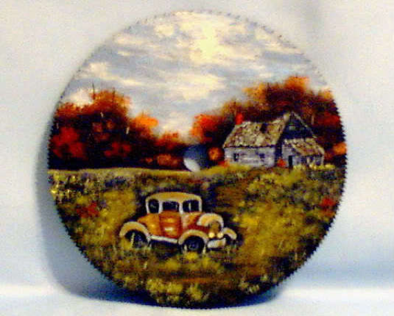 Hand Painted Saw Blade Fall Old Car Order