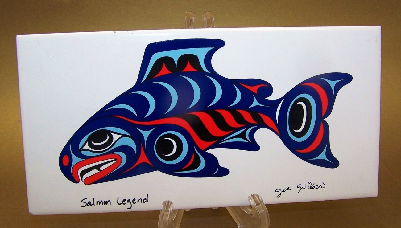 Joe Wilson Coast Salish Art Tile Salmon Legend