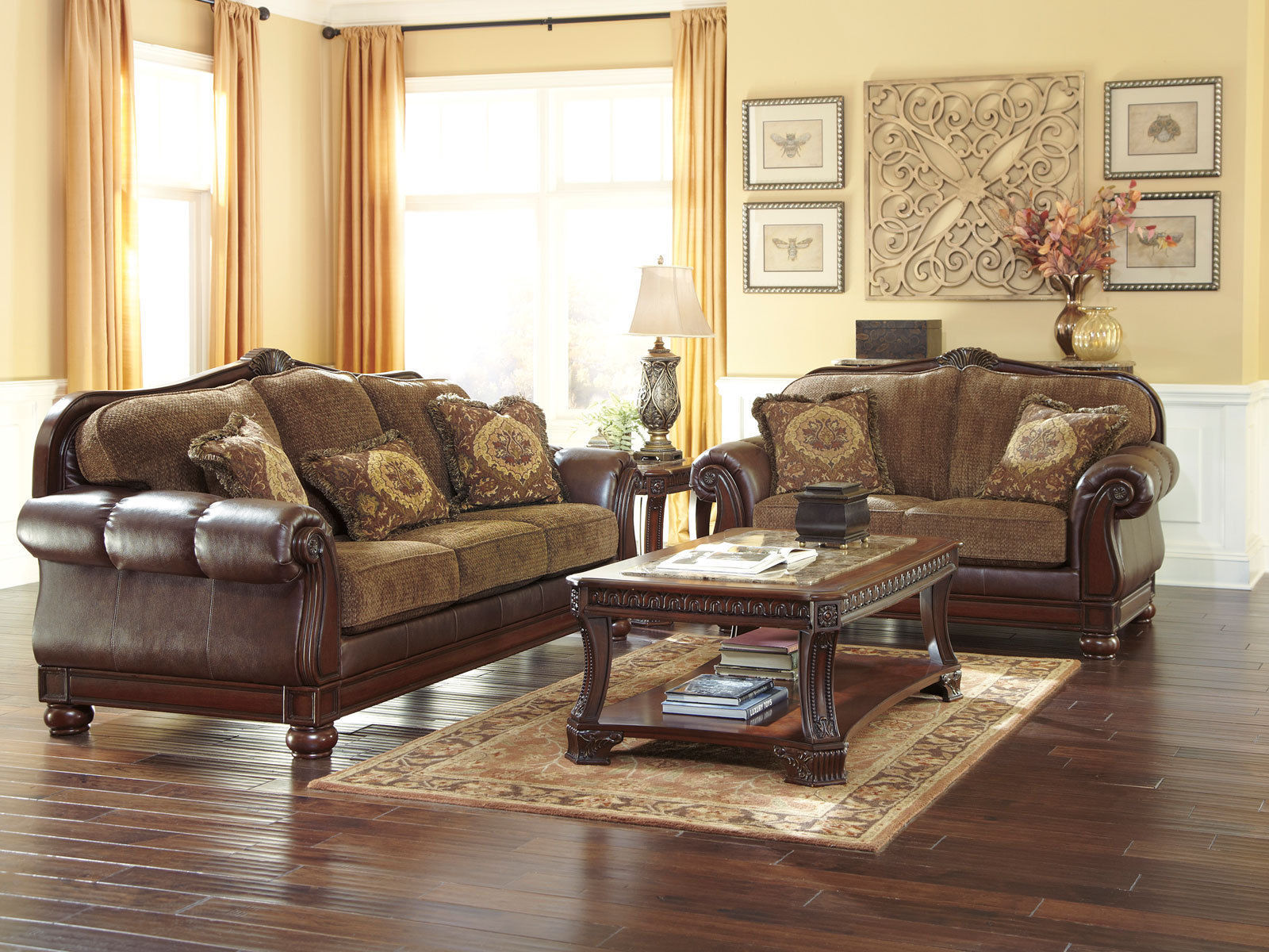 naples old world bonded leather fabric sofa couch set