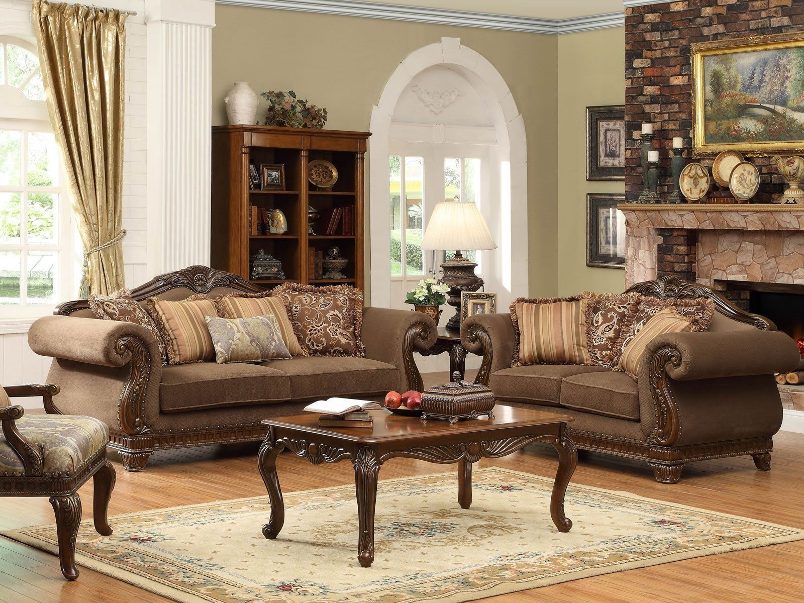 Odessa traditional brown wood trim chenille sofa couch for Family room sofa sets