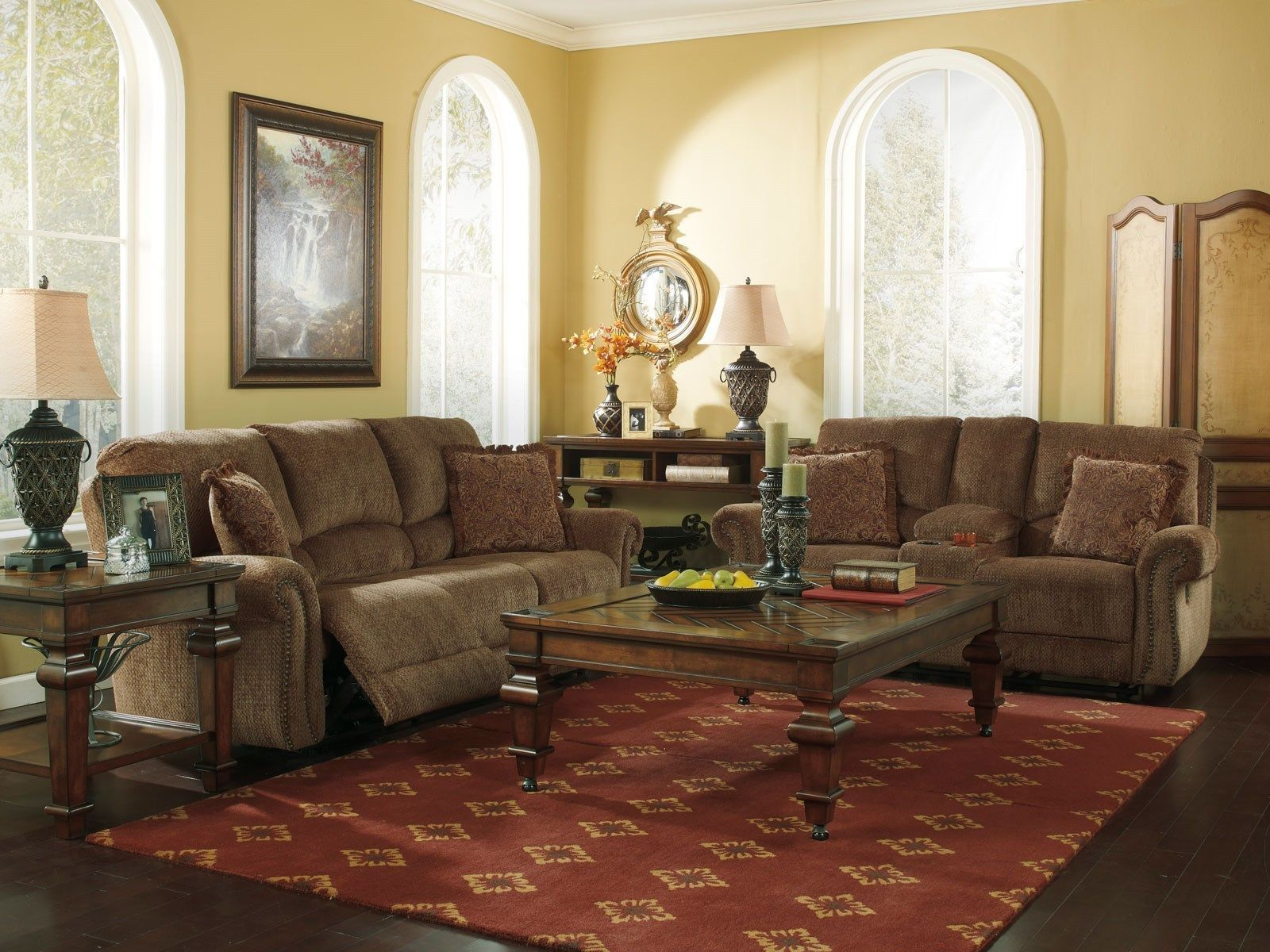 chenille reclining sofa couch loveseat set living room sofas