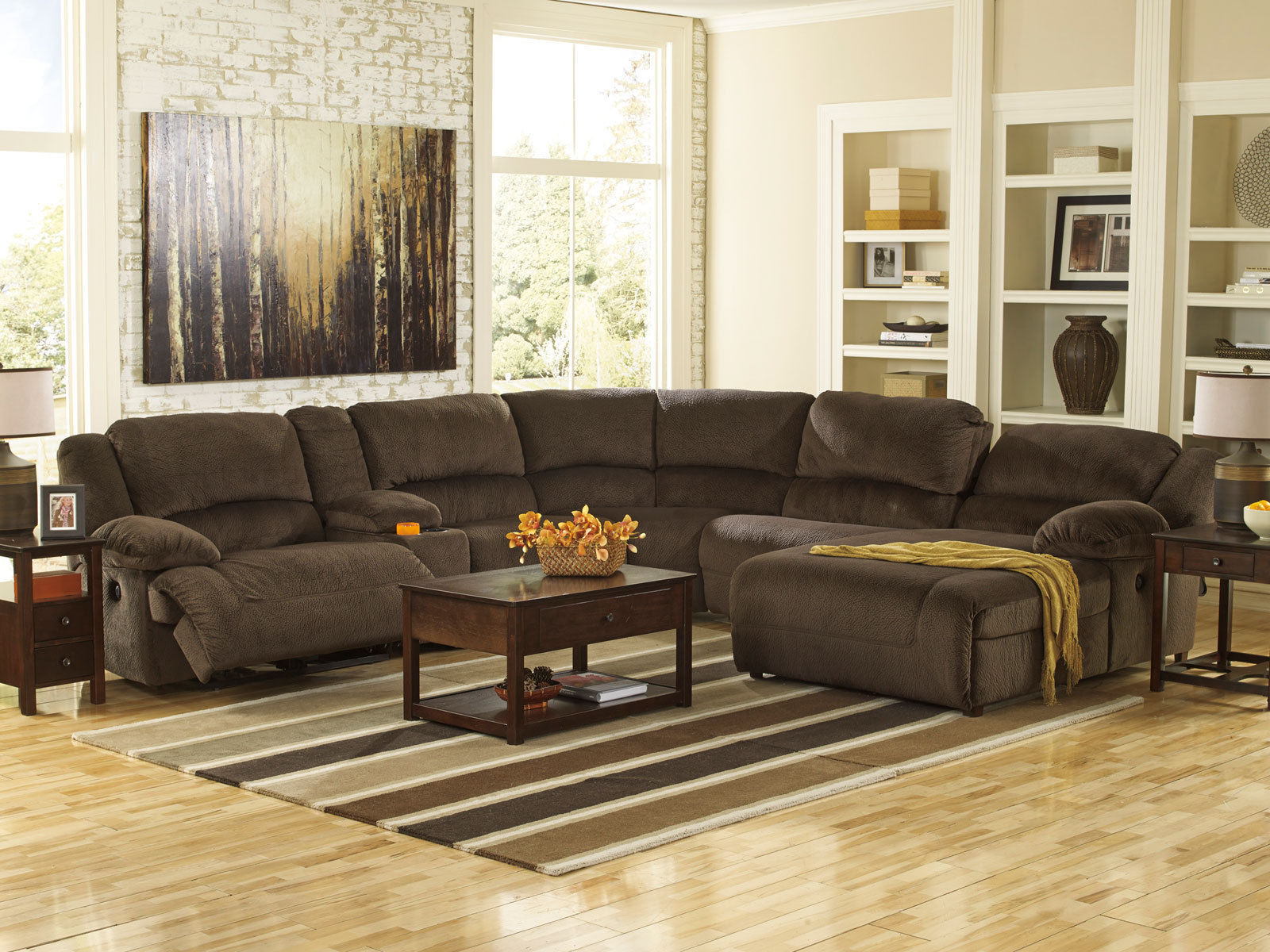 AVERY-6pcs BROWN MICROFIBER RECLINER SOFA COUCH CHAISE ...