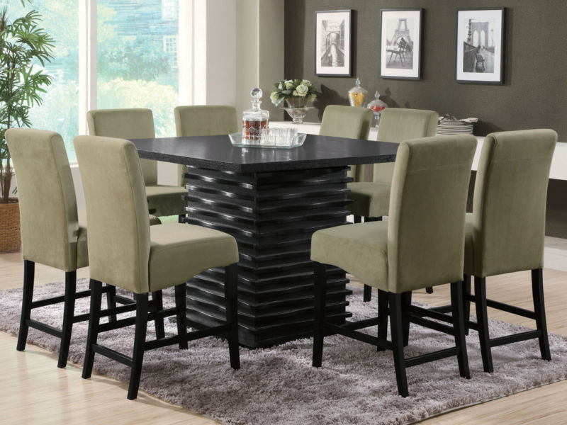 novo 9pcs modern espresso square counter height dining room table