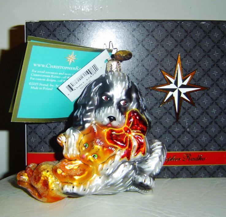 Christopher Radko Feast of Friends Dog & Cat Ornament