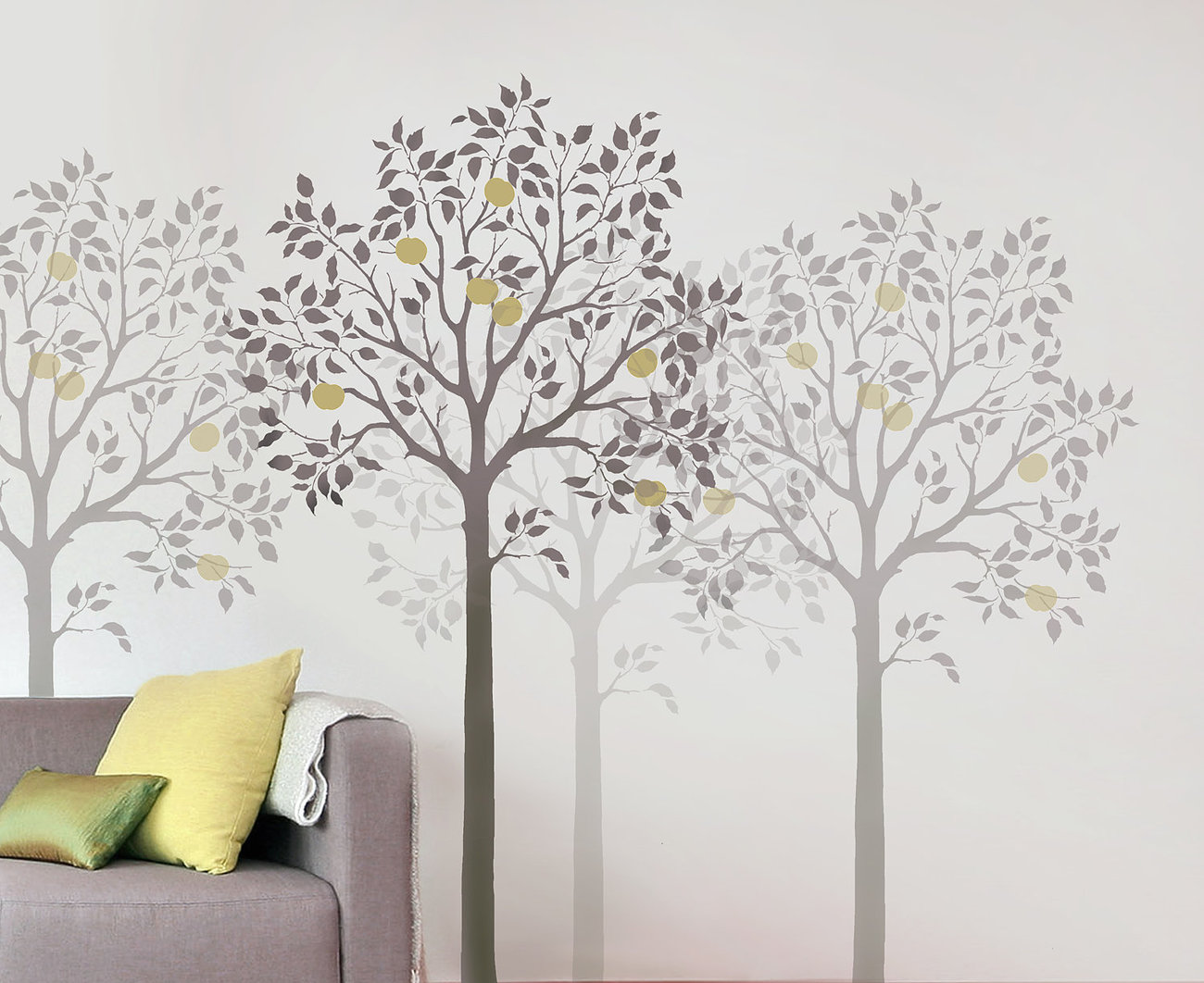Large fruit tree stencil easy reusable wall stencils for for Large tree template for wall