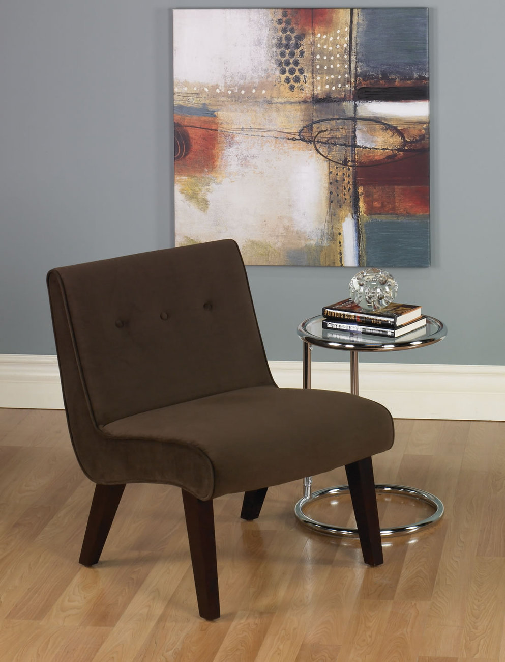 Ave Six Valencia Armless Living Room Accent Chair Chocolate Fabric Wood