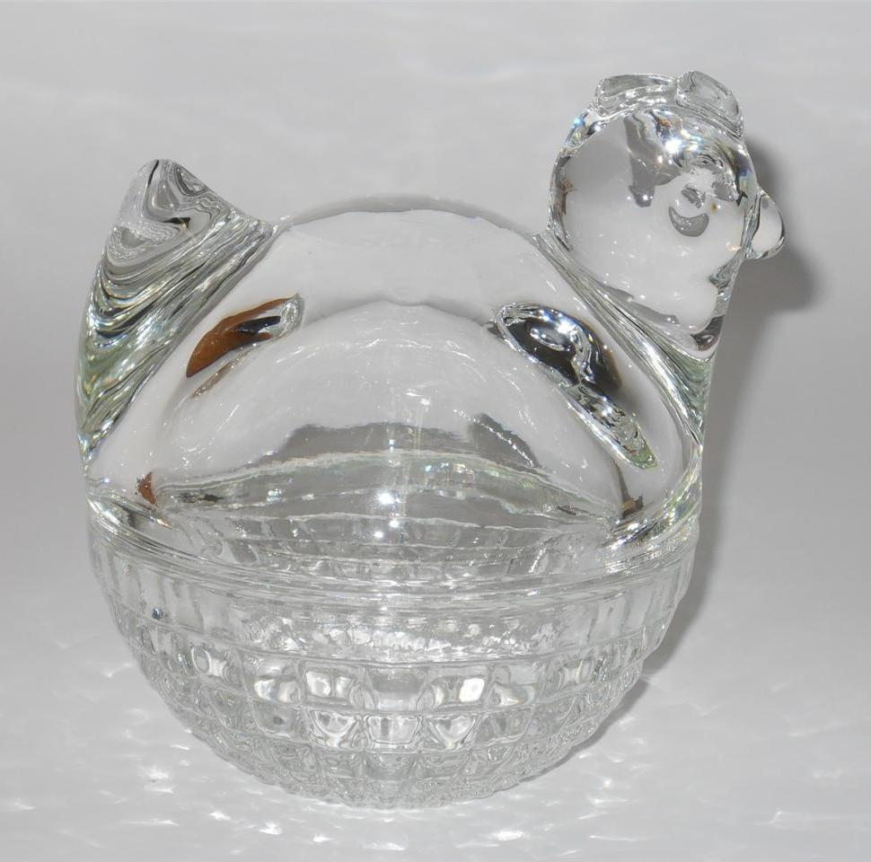 Glass Nesting Boxes : Anchor hocking glass hen chicken rooster on nest basket