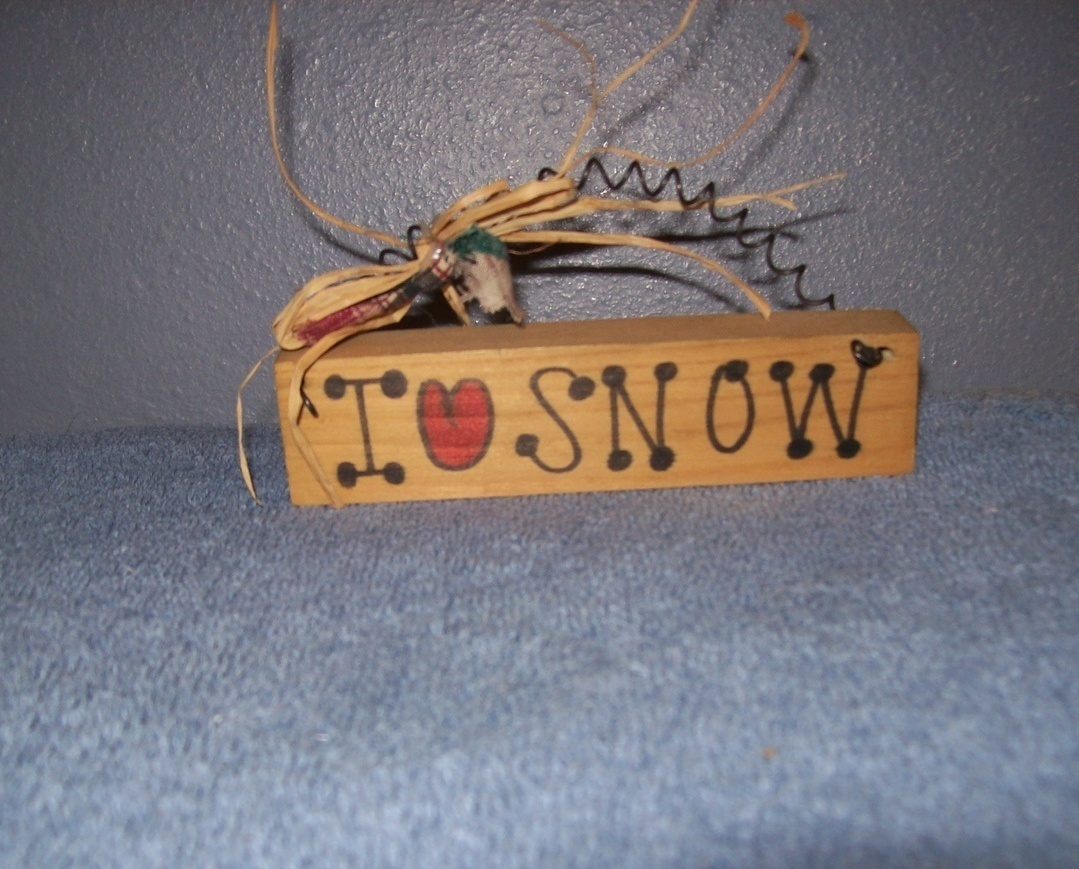 I Love Snow Wooden Sign