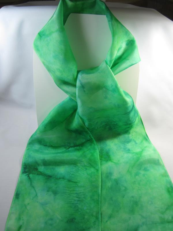 Silk Hand Dyed Scarf Green 8 inch by 68 inches