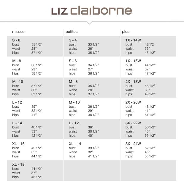 Liz Claiborne Size Chart Solidique27