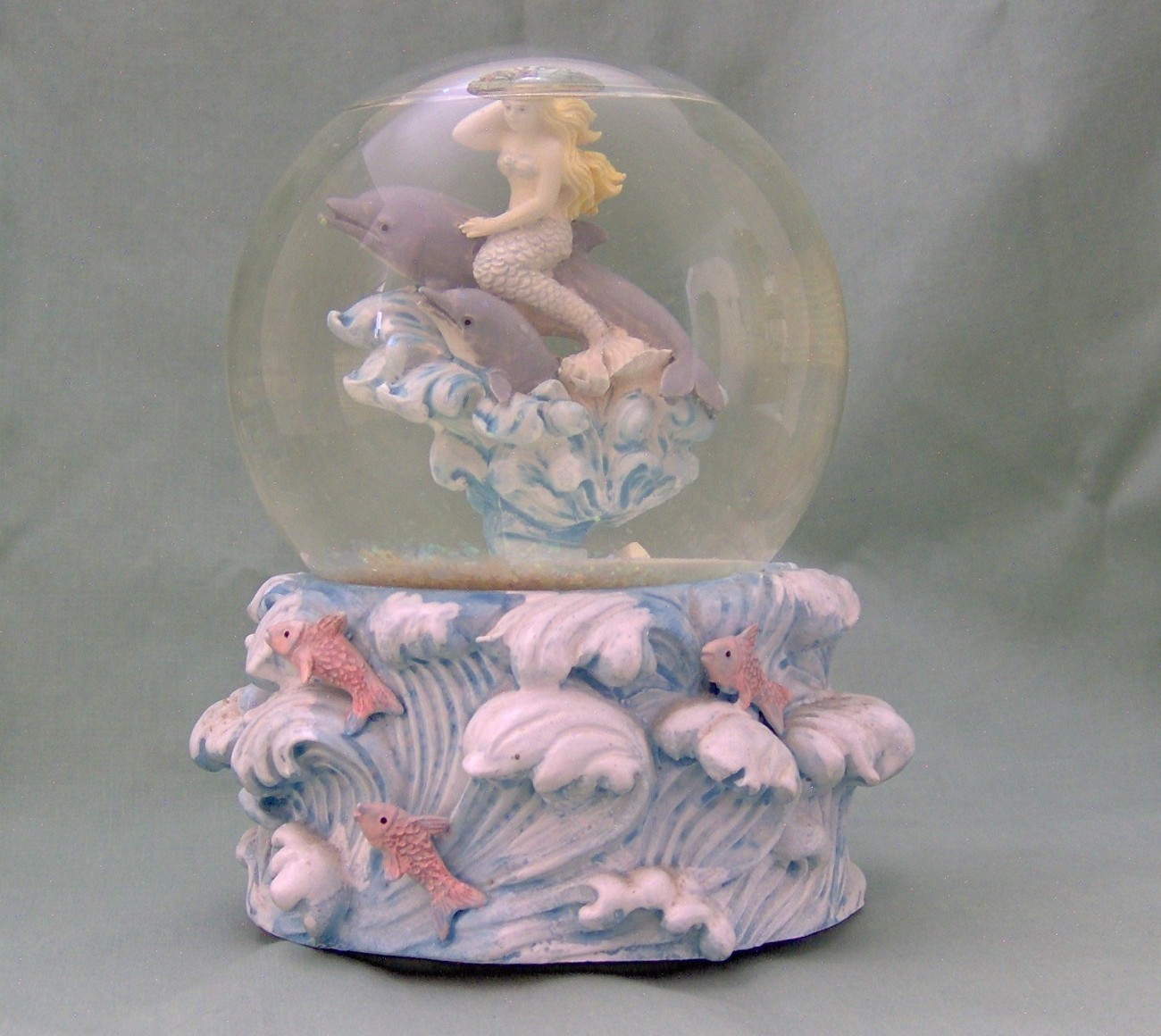 Westland Snowglobe With Mermaid Riding A Pair Of Dolphins
