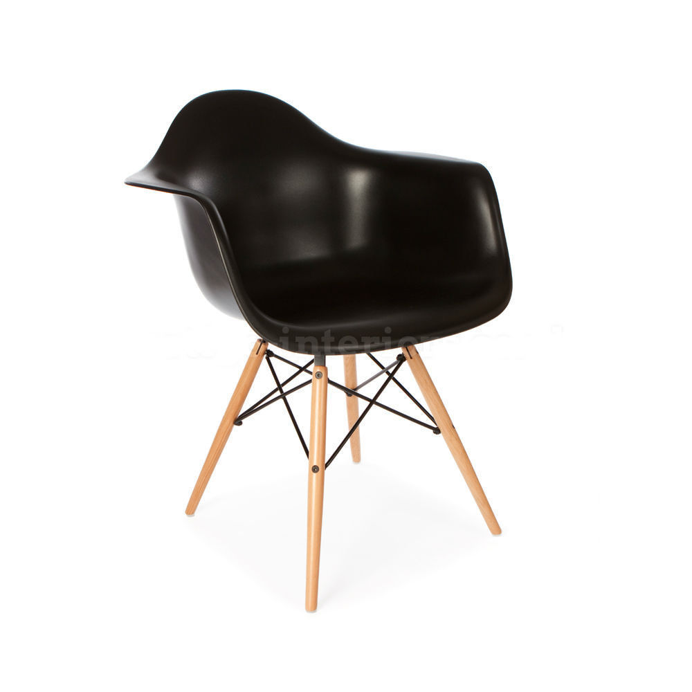 modern designer style black molded plastic chair accent eames dowel
