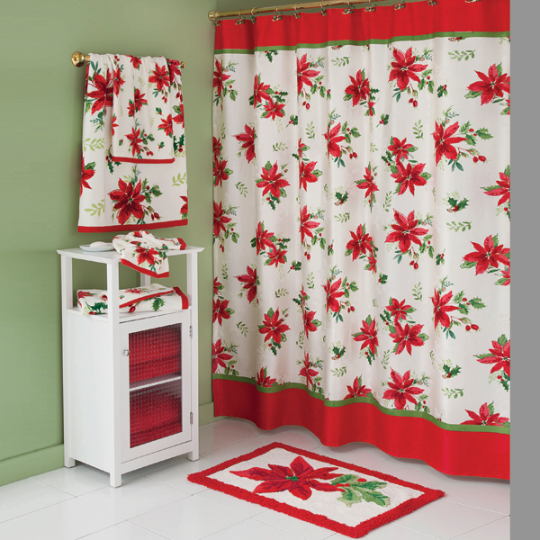 Kitchen Christmas Curtains Amazon Com: Poinsettia Red Winter Shower Curtain