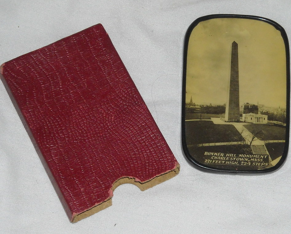 Vintage Souvenir Mirror Bunker Hill, Charlestown Mass with Red Case