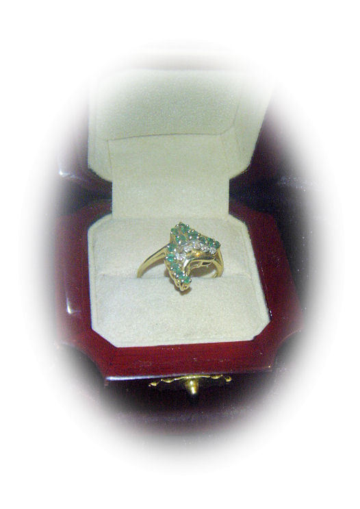 Emerald and Diamond Cascade 14kt ring! ~ Designed of a faraway dream Island ~