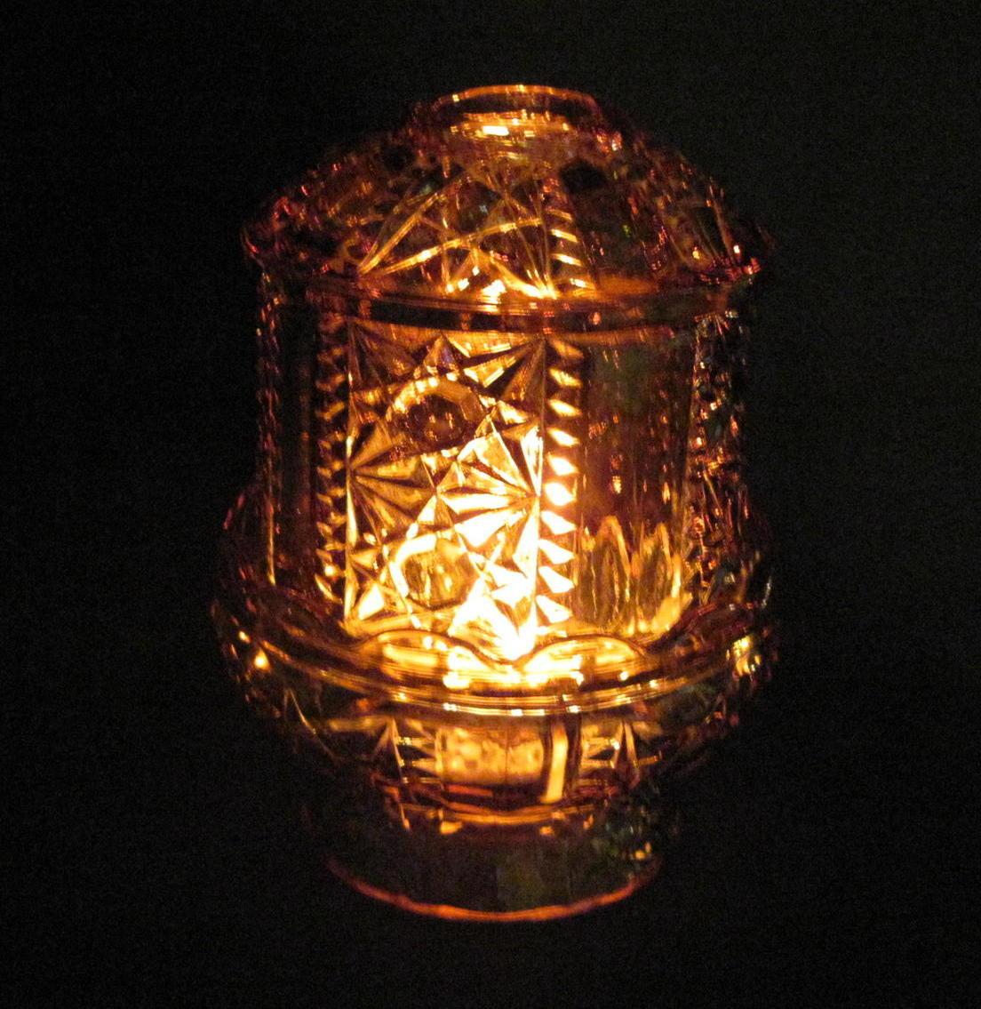 home interiors amber fairy lamp candle holder star diamond