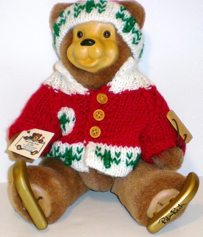 Robert Raikes Bears Danny the Ice Skater Bear 1996 signed w/stand