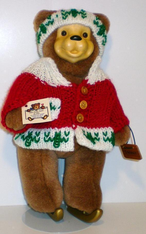 Image 1 of Robert Raikes Bears Danny the Ice Skater Bear 1996 signed w/stand