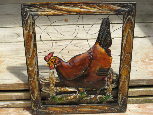 Country Farm Rooster Chicken Wall Plaque Metal Art Picture Ranch Bird