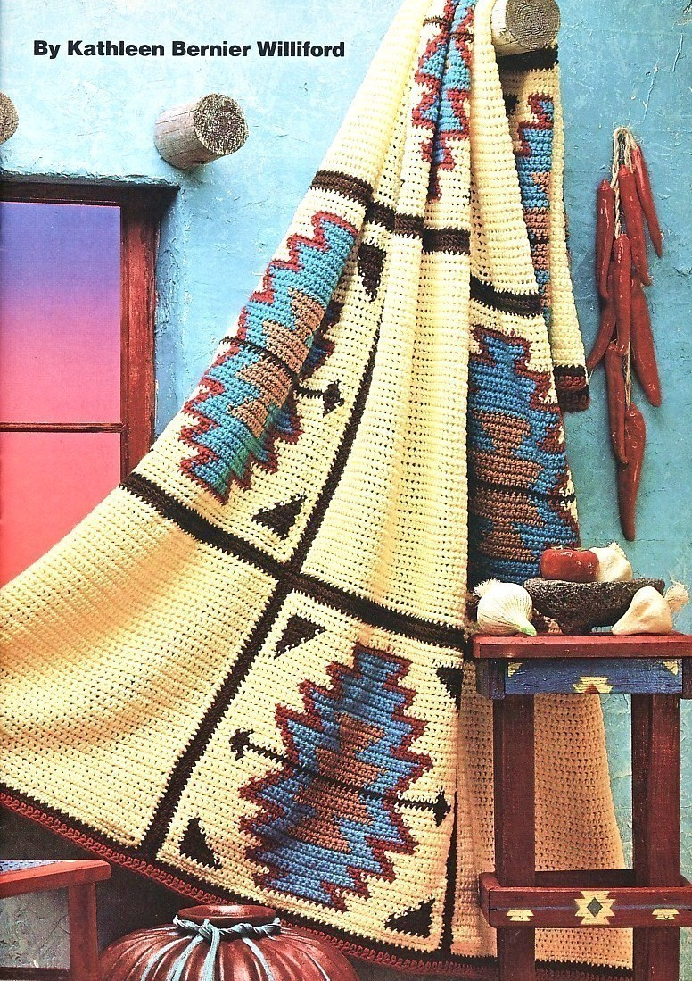 Aztec Afghan Crochet Pattern Indian Blanket Southwest