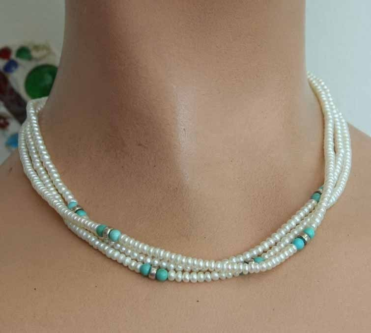 Elegant South West Native American Cultured Pearl & Turquoise Sterling Necklace