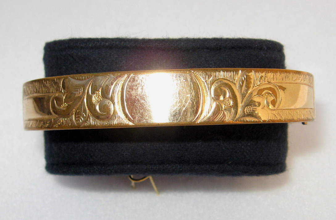 Bates & B Antique Gold Filled Bangle Bracelet, 1905