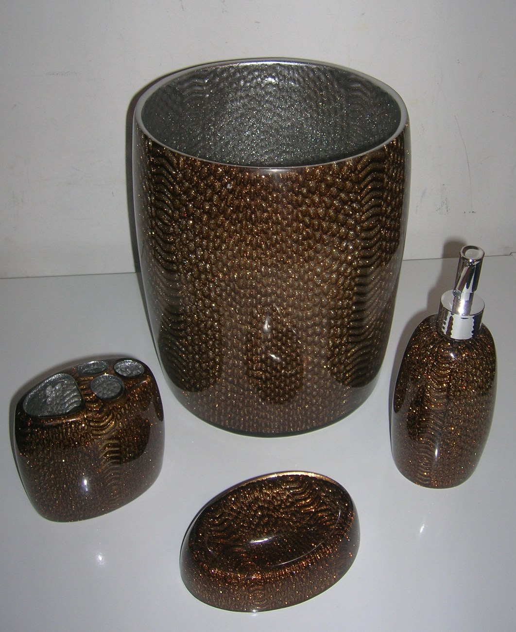 Brown Bathroom Accessories Sets : Pc bathroom set accessories brand new in brown