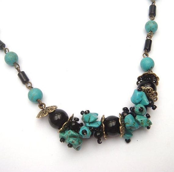 Antiqued Brass Black Agate Green Turquoise Necklace