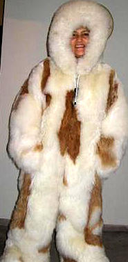 White hooded overall with brown spots, baby alpaca fur, 2X -  Large