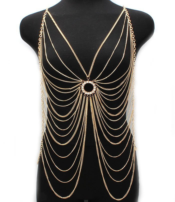 Body Chain Crystal Circle Butterfly Armor Gold Draping Chains Statement