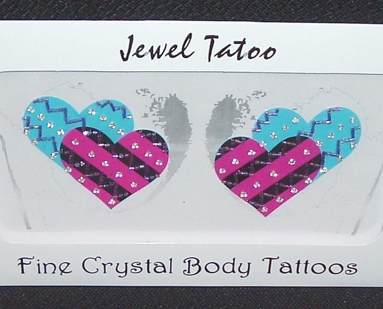 Sexy heart stripe nipple tattoo pasties aqua pink bead for Heart tattoo nipples