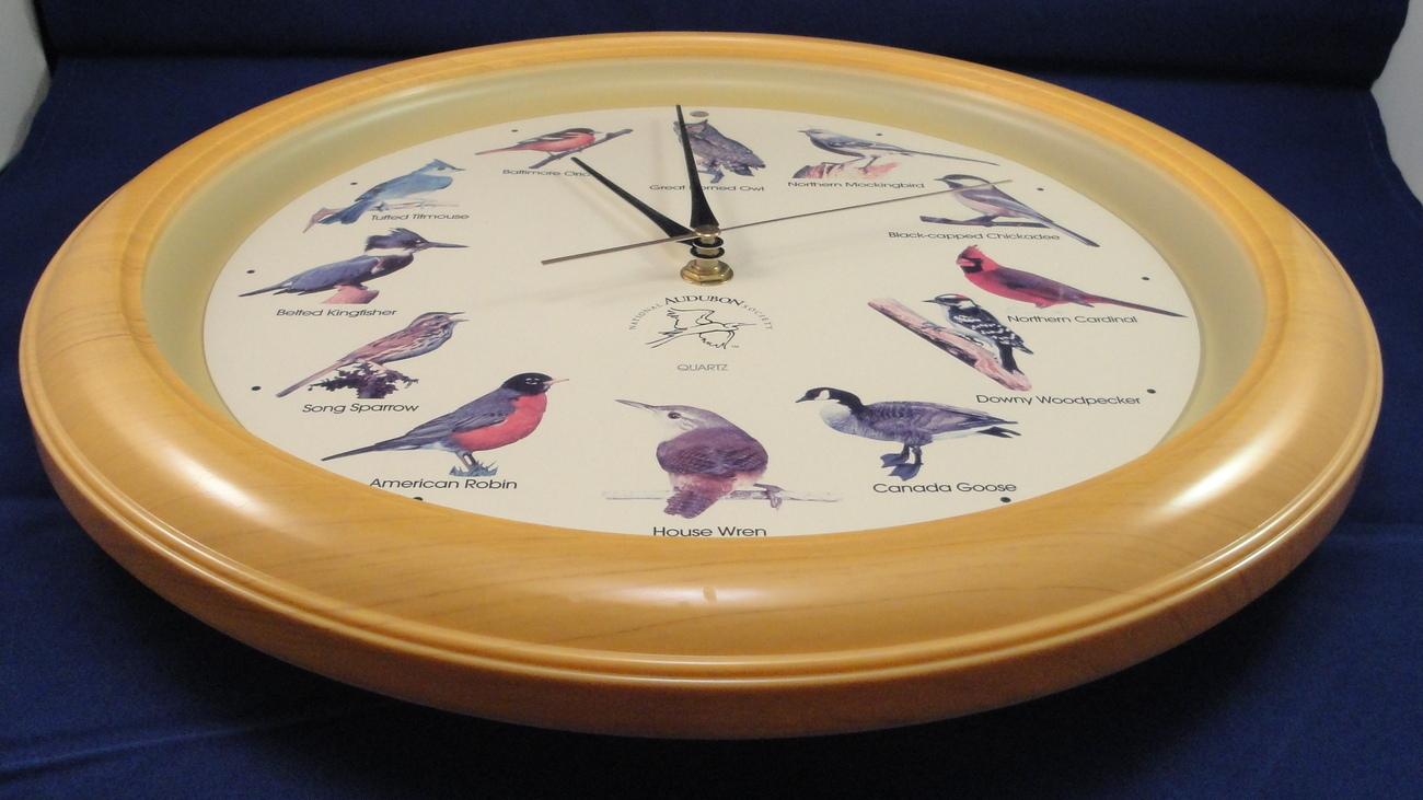 Wall Clock Audubon Society Singing Bird Calls Song Birds