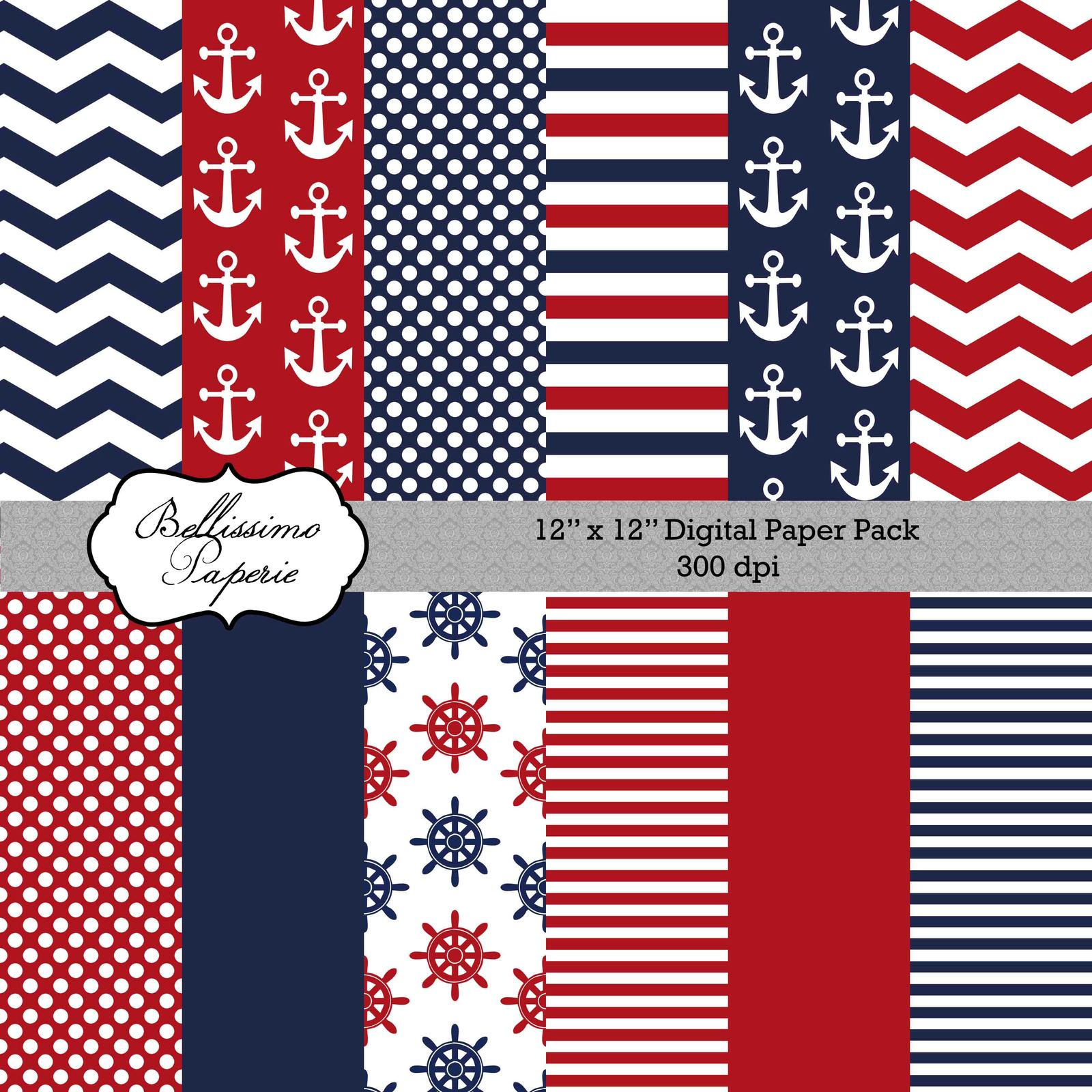 Nautical themed paper pack scrapbook paper printable 12 for Themed printer paper
