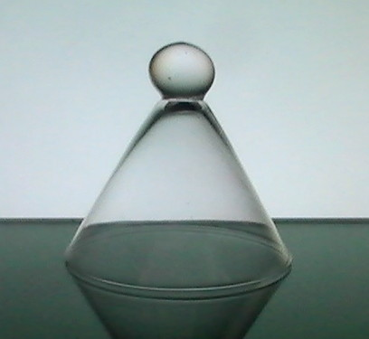 Hanging Candle Holder with Knob Triangular Glass 5 x 4.75 inches