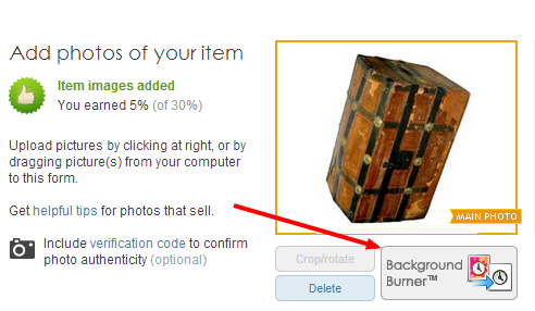 Background Burn your images from the item detail page